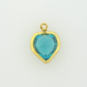 #52200 - 10 mm Swarovski Gold Plated Heart  - Blue Zircon