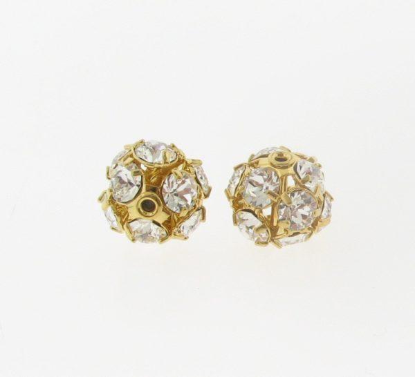 #3712 - 12mm Swarovski Gold Plated Rhinestone Ball - Crystal