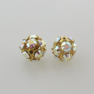 #3712 - 12mm Swarovski Gold Plated Rhinestone Ball - Crystal AB