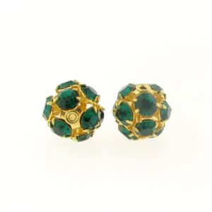 #3712 - 12mm Swarovski Gold Plated Rhinestone Ball - Emerald
