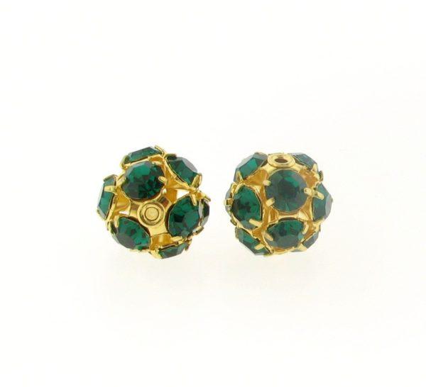 #3712 - 12mm Swarovski Gold Plated Rhinestone Ball - Emerald