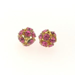 #3712 - 12mm Swarovski Gold Plated Rhinestone Ball - Rose