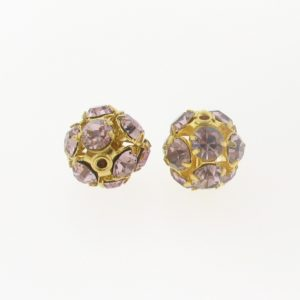 #3712 - 12mm Swarovski Gold Plated Rhinestone Ball - Lt. Amethyst