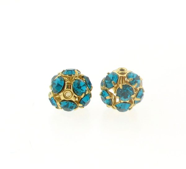 #3712 - 12mm Swarovski Gold Plated Rhinestone Ball - Blue Zircon