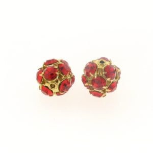 #3712 - 12mm Swarovski Gold Plated Rhinestone Ball - Lt.Siam