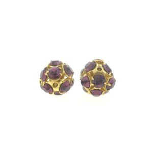 #3712 - 12mm Swarovski Gold Plated Rhinestone Ball - Amethyst