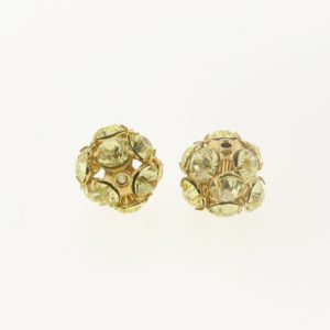 #3712 - 12mm Swarovski Gold Plated Rhinestone Ball - Jonquil