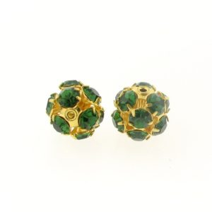 #3712 - 12mm Swarovski Gold Plated Rhinestone Ball - Green Turmaline