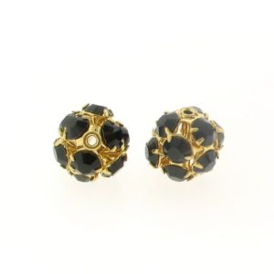 #3712 - 12mm Swarovski Gold Plated Rhinestone Ball - Garnet