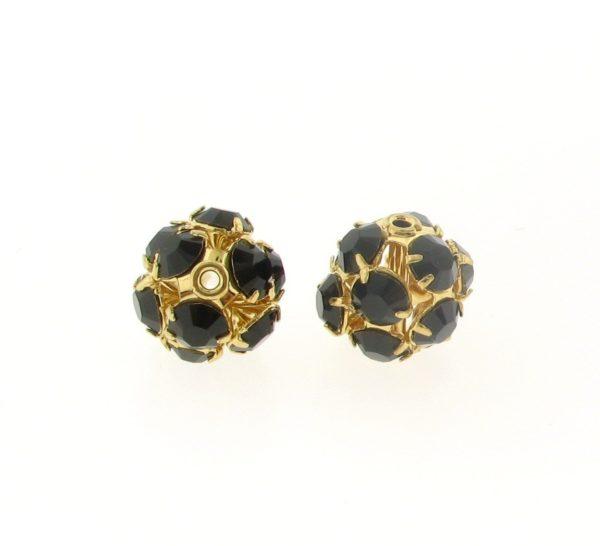 #3712 - 12mm Swarovski Gold Plated Rhinestone Ball - Garnet
