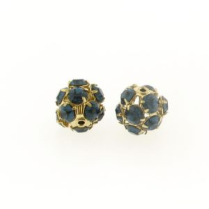 #3712 - 12mm Swarovski Gold Plated Rhinestone Ball - Montana