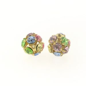 #3712 - 12mm Swarovski Gold Plated Rhinestone Ball - Lt.Multi