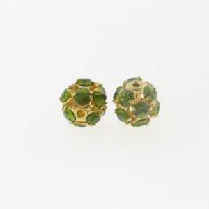 #3712 - 12mm Swarovski Gold Plated Rhinestone Ball - Olivine