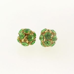 #3712 - 12mm Swarovski Gold Plated Rhinestone Ball - Peridot