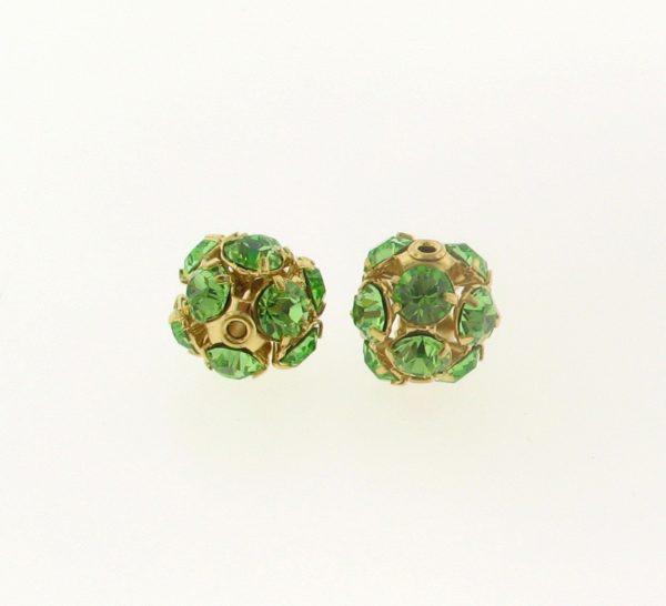 #3712 - 12mm Swarovski Gold Plated Rhinestone Ball - Peridot