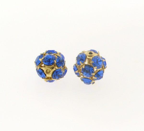 #3712 - 12mm Swarovski Gold Plated Rhinestone Ball - Sapphire
