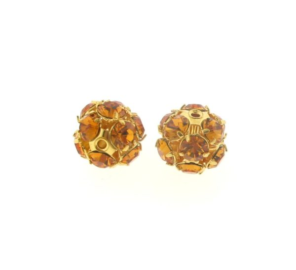 #3712 - 12mm Swarovski Gold Plated Rhinestone Ball - Topaz