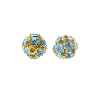 #3712 - 12mm Swarovski Gold Plated Rhinestone Ball - Aquamarine