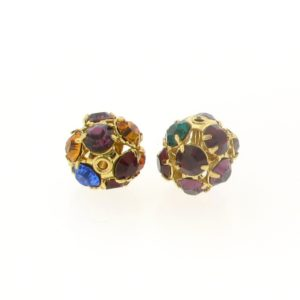 #3712 - 12mm Swarovski Gold Plated Rhinestone Ball - Dark Multi