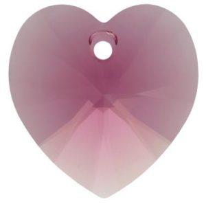 # 6228/6202 - 10.3x10mm Swarovski Crystal Heart Pendant - Amethyst