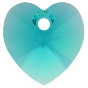 # 6228/6202 - 10.3x10mm Swarovski Crystal Heart Pendant - Blue Zircon