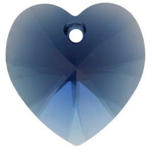 # 6228/6202 - 10.3x10mm Swarovski Crystal Heart Pendant - Dark Indigo