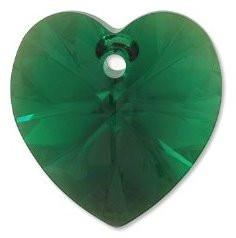 # 6228/6202 - 10.3x10mm Swarovski Crystal Heart Pendant - Emerald