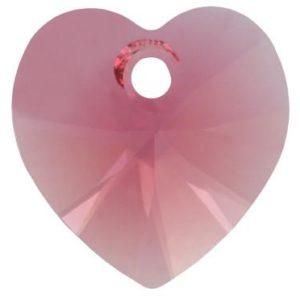 # 6228/6202 - 10.3x10mm Swarovski Crystal Heart Pendant - Indian Pink