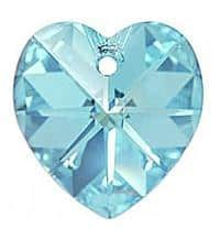 # 6228/6202 - 10.3x10mm Swarovski Crystal Heart Pendant - Aquamarine
