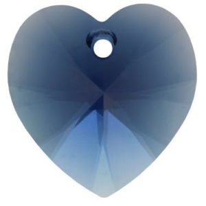 # 6228/6202 - 14.4x14mm Swarovski Crystal Heart Pendant - Dark Indigo