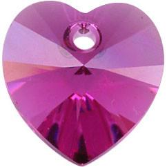 # 6228/6202 - 14.4x14mm Swarovski Crystal Heart Pendant - Fuchsia