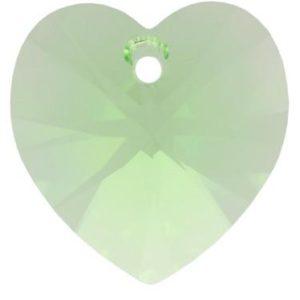 # 6228/6202 - 14.4x14mm Swarovski Crystal Heart Pendant - Peridot