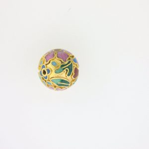 8512C - 12mm Round Cloisonne Bead - Gold