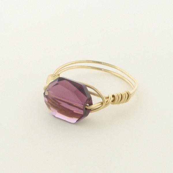 12131 - Gold Filled Ring With Swarovski Crystal - Amethyst
