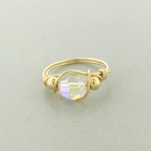 12133 - Gold Filled Ring With Swarovski Crystal - Crystal AB