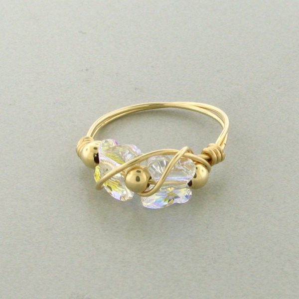 12134 - Gold Filled Ring With Swarovski Crystal - Crystal AB