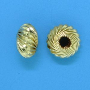 93 - 7mm Gold Filled Twisted Corrugated Round Saucer Bead (Rondelle)