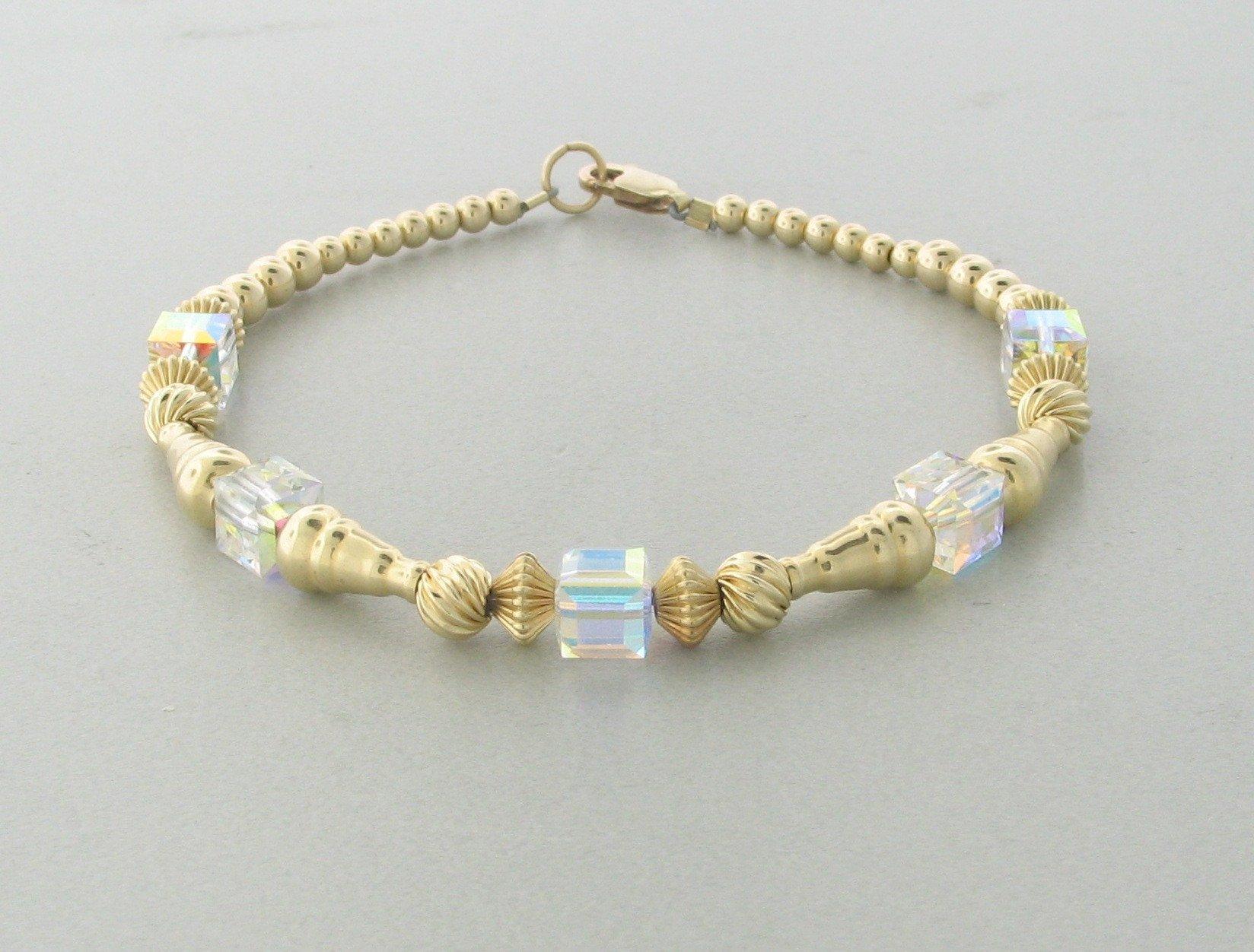 12004 – 14K Gold filled Bracelet With Swarovski Crystal