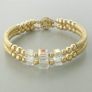 12045 - 14K Gold filled Bangle Bracelet With Swarovski Crystal