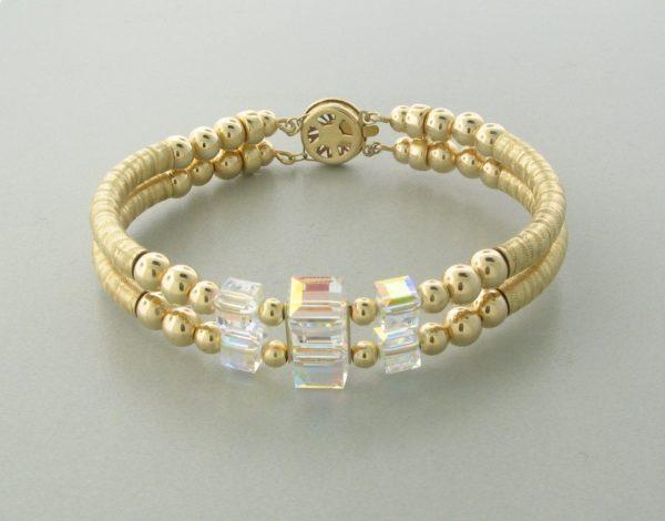 12045 - 14K Gold filled Bangle Bracelet With Swarovski Crystal