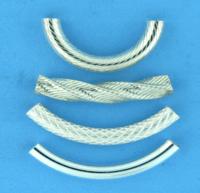 Sterling Silver Curved Tubes (Noodle Shape)