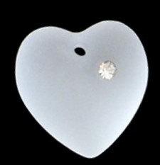 6221/4 - 10x9.7mm Swarovski Rhinestone Heart Pendant - Crystal (Matt-Finish)