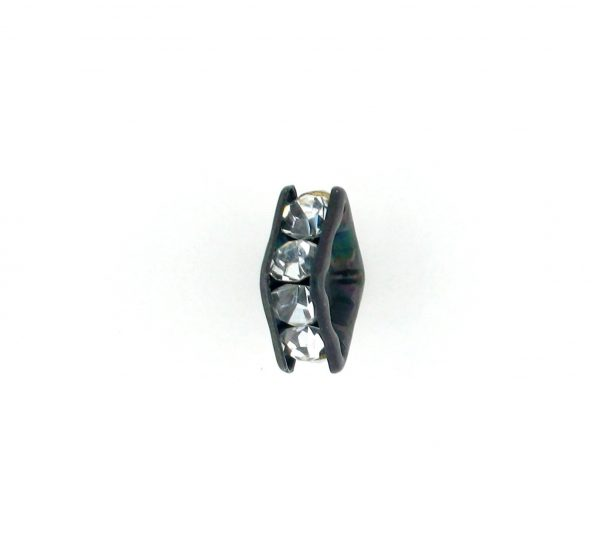 9851S - 4mm Rhinestone Squaredelle Silver Plated - Crystal (Black)
