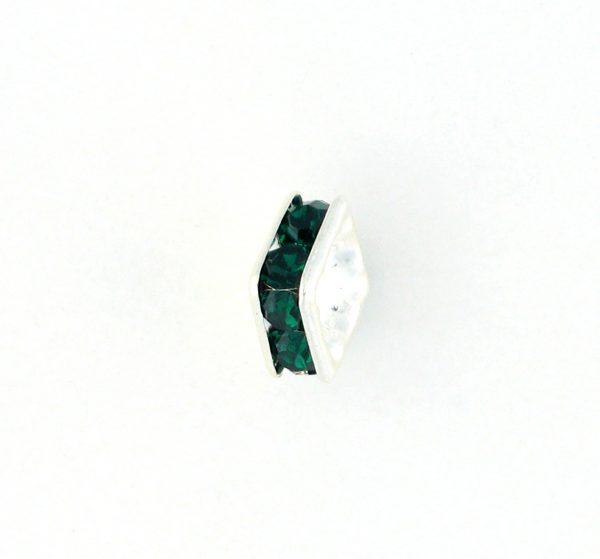 9852S – 6mm Rhinestone Squaredelle Silver Plated – Emerald