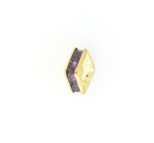 9851 - 4mm Rhinestone Squaredelle Gold Plated - Amethys