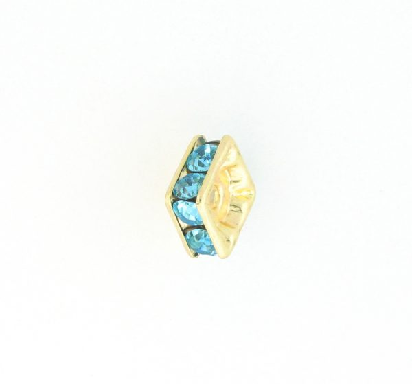 9852 – 6mm Rhinestone Squaredelle Gold Plated – Aquamarine