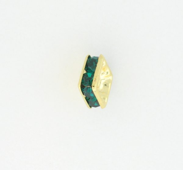 9851 - 4mm Rhinestone Squaredelle Gold Plated - Emerald