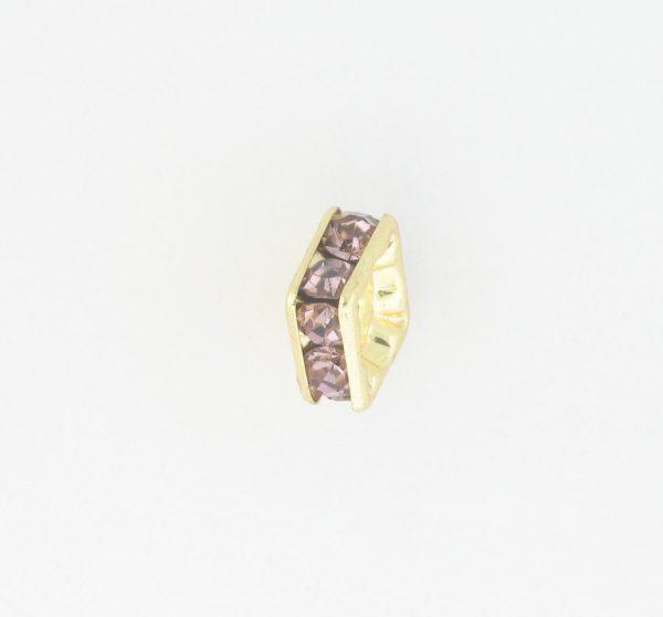 9852 – 6mm Rhinestone Squaredelle Gold Plated – Light Amethyst