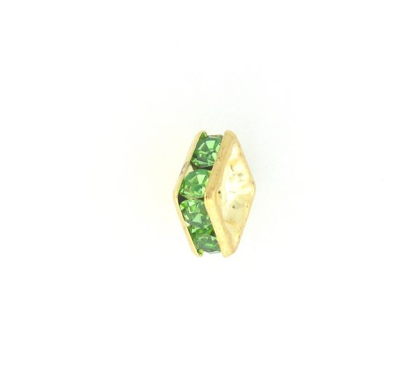 9852 – 6mm Rhinestone Squaredelle Gold Plated – Peridot