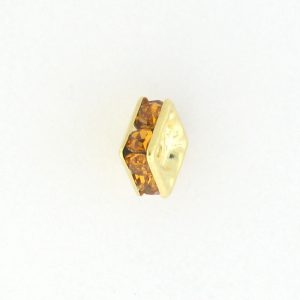 9851 - 4mm Rhinestone Squaredelle Gold Plated - Topaz